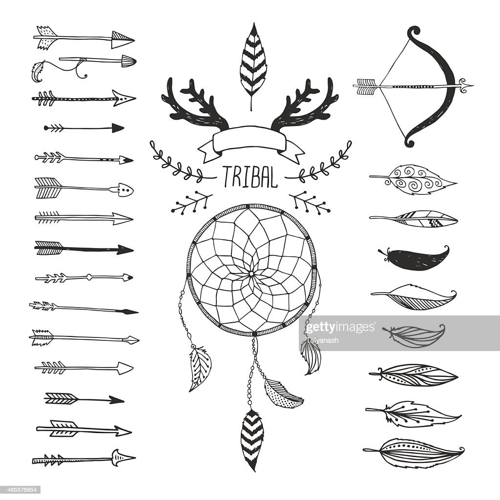Variety of arrows and symbols in tribal design