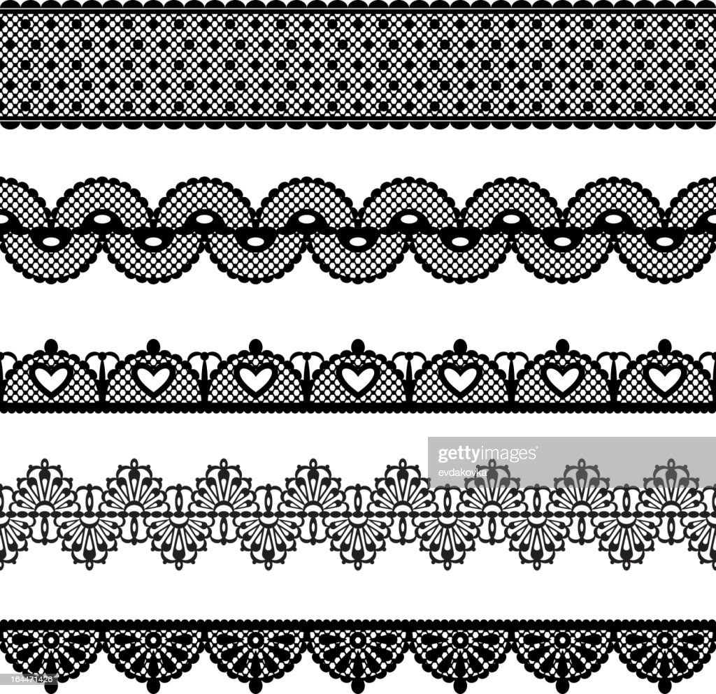 A variety of black and white seamless lace