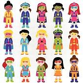 Variety of colorful, diverse superhero girls