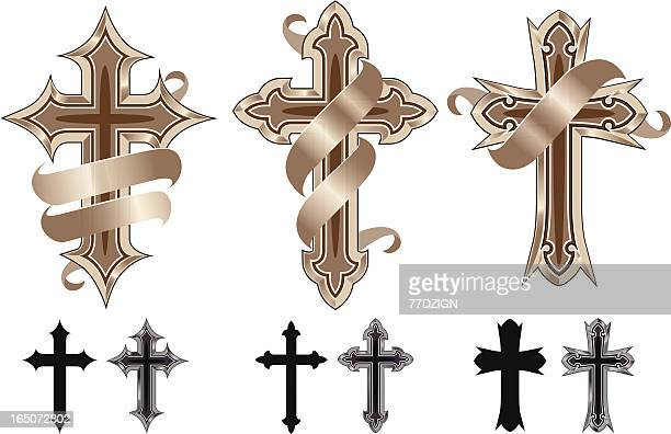 variety of cross icons on a white background - cross shape stock illustrations, clip art, cartoons, & icons
