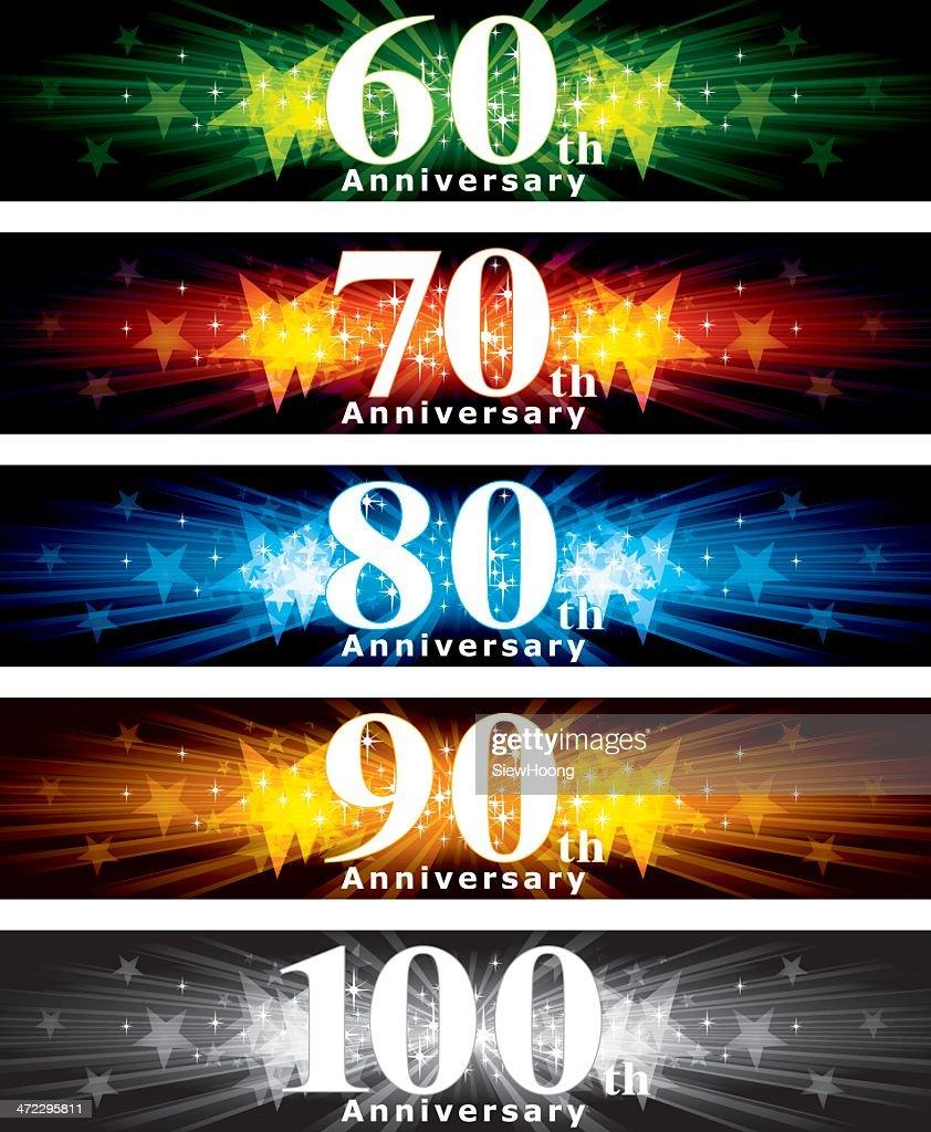 A variety of different years anniversary banner