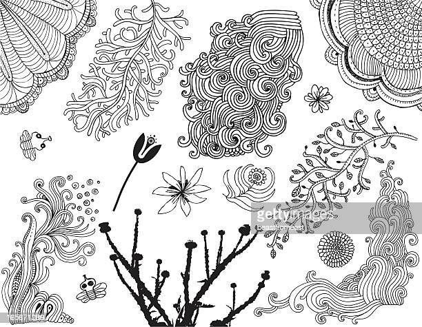 Variety of doodle plants, flowers and bees isolated on white