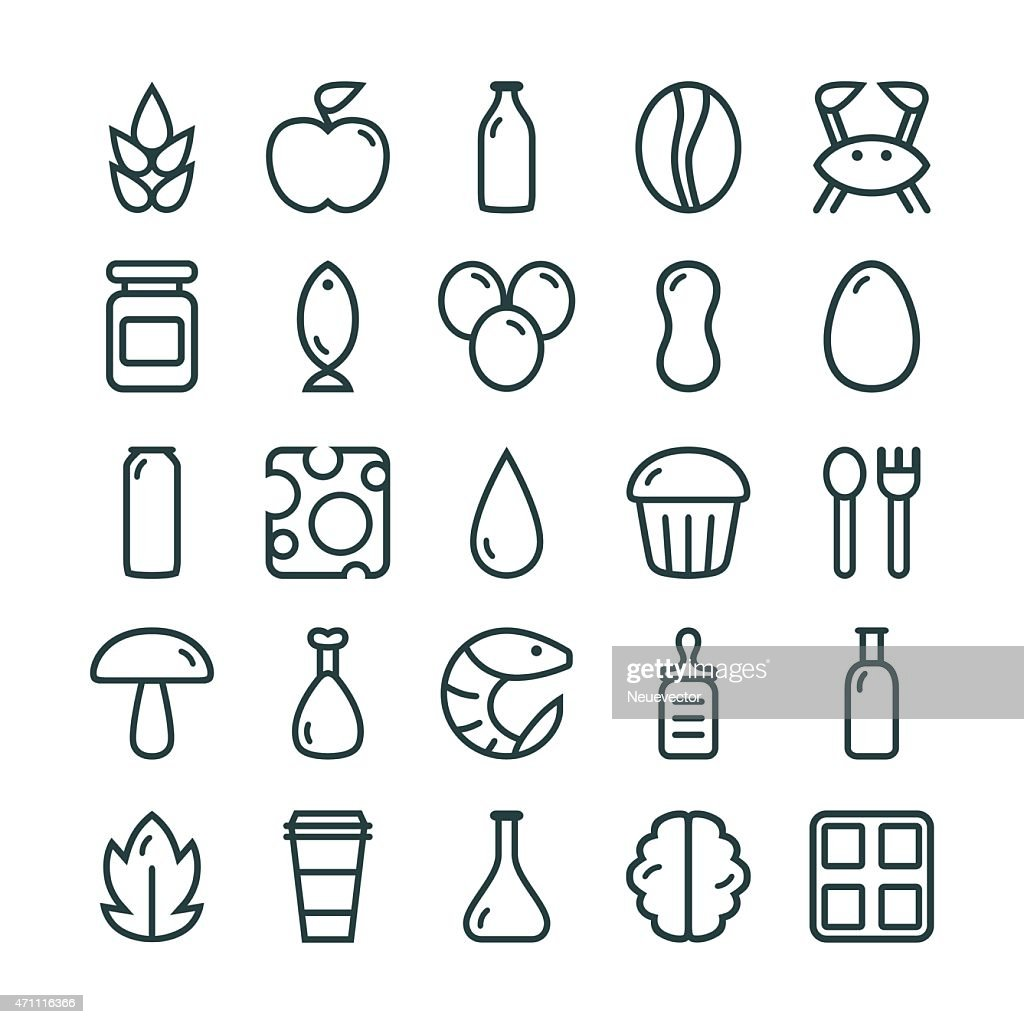 Variety of food icon sets in columns
