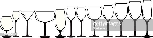 variety of glass for beverage - cognac brandy stock illustrations, clip art, cartoons, & icons