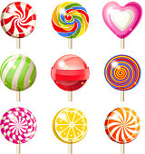 A variety of nine different lollipops