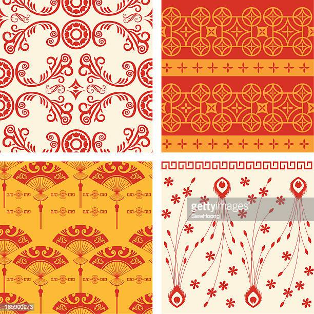 a variety of oriental backgrounds - tradition stock illustrations