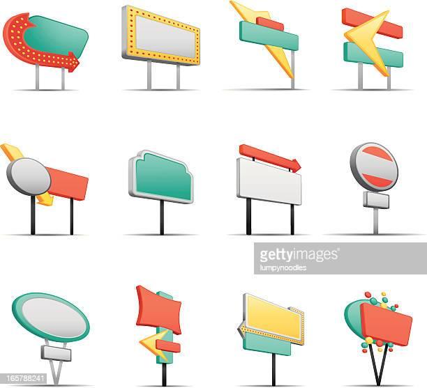 ilustrações, clipart, desenhos animados e ícones de retro sinais - outdoor