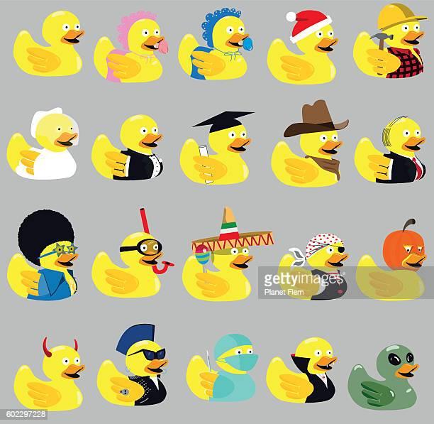 variety of rubber ducks - rubber duck stock illustrations