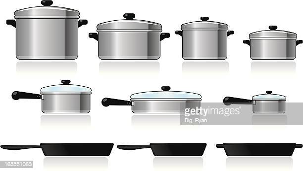 a variety of silver and black cookware in different sizes - kitchenware department stock illustrations, clip art, cartoons, & icons