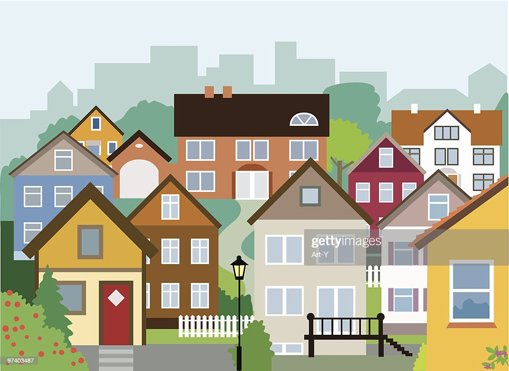 Variety of Small and Large Houses in Neighbourhood : stock illustration
