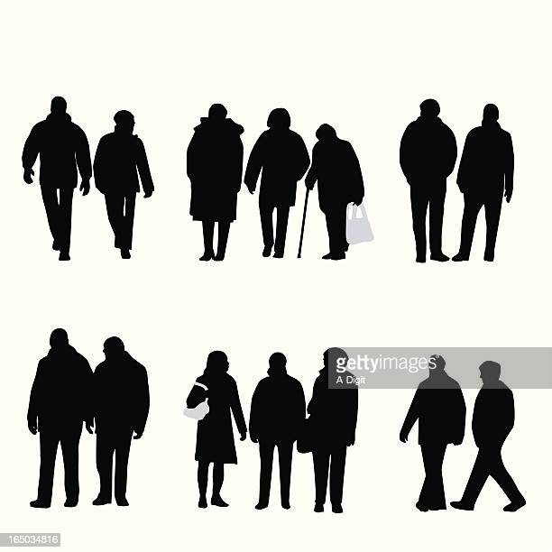 Variety Winter Seniors Vector Silhouette