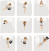 Various action of woman in bedroom
