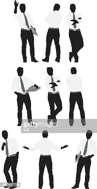 Various actions of businessman