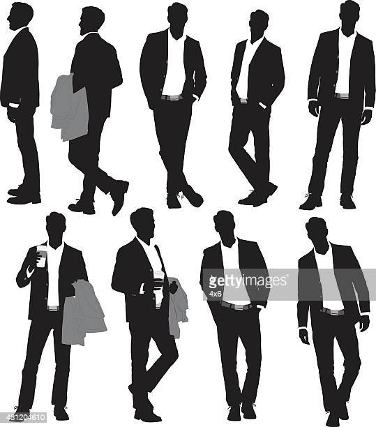 various actions of businessman - hands in pockets stock illustrations