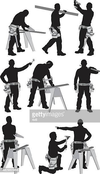 various actions of carpenter - tool belt stock illustrations, clip art, cartoons, & icons