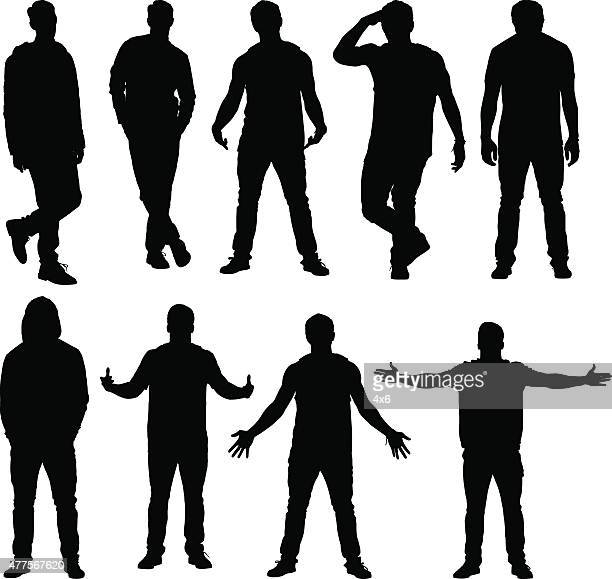 various actions of casual men - hooded top stock illustrations