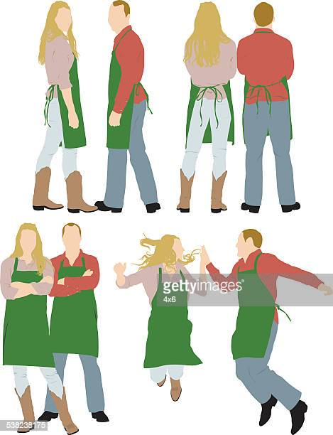 Various actions of couple in apron