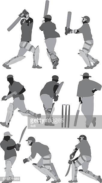 various actions of cricket player - batting stock illustrations