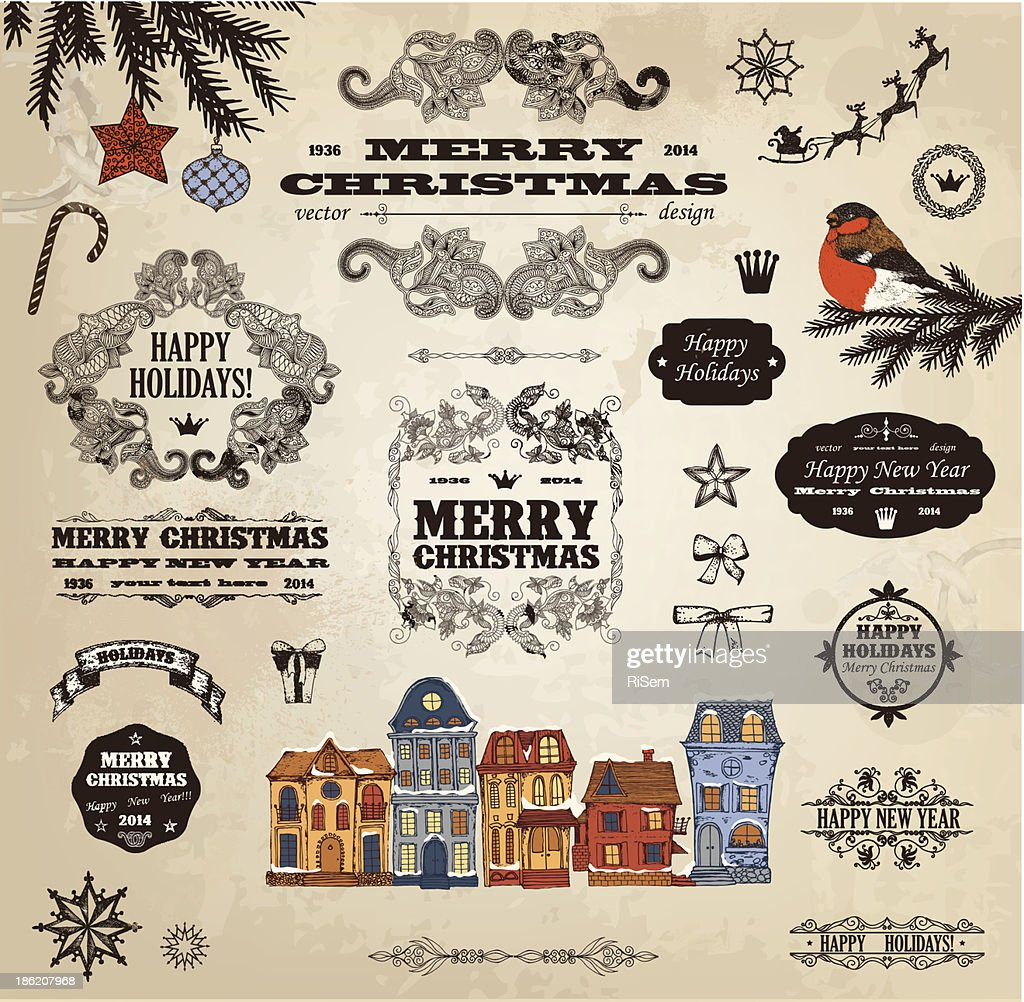 Various antique-style Christmas labels and icons