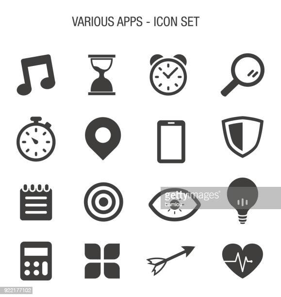 various apps icon set - calendar date stock illustrations