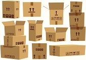 Various assorted cardboard boxes