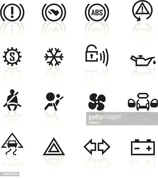 Various black car control indicators
