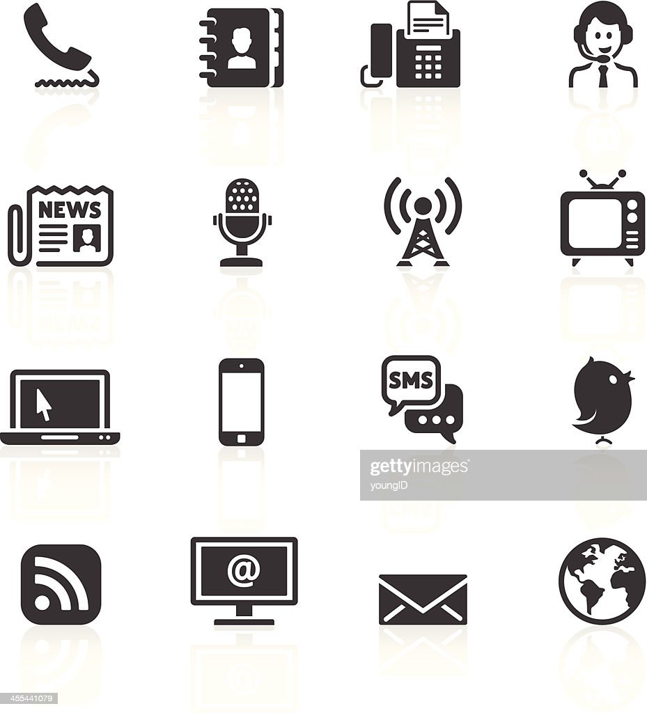 Various black communication icons