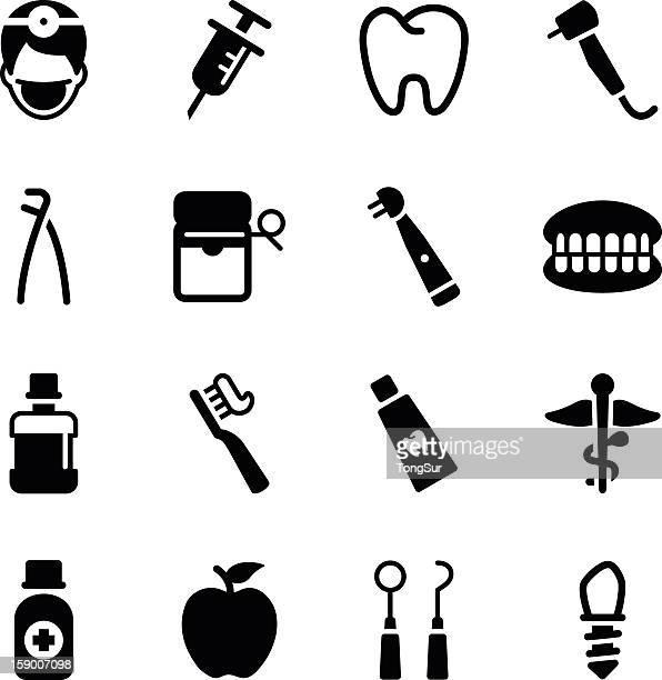 various black dental icons on a white background - mouthwash stock illustrations