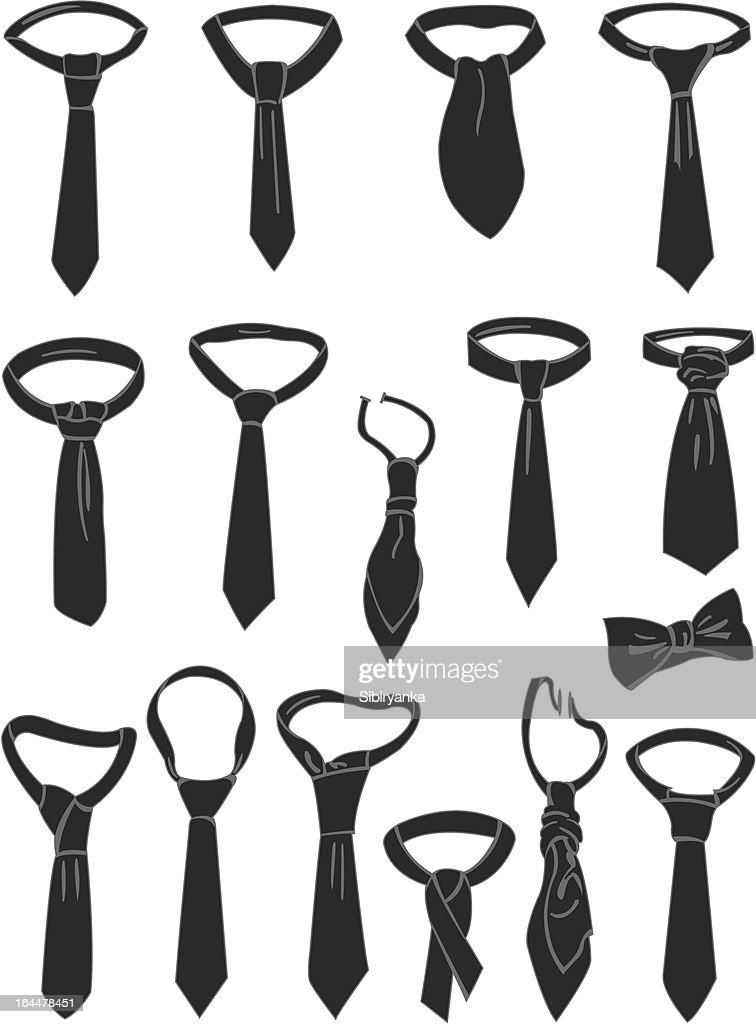 Various black necktie graphics isolated on white