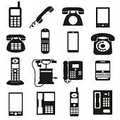 various black phone symbols and icons set eps10