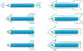 Various Blue Pencil Arrows on white background