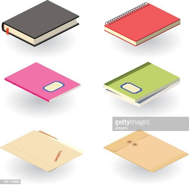 ilustrações, clipart, desenhos animados e ícones de livros etc. - caderno de anotação