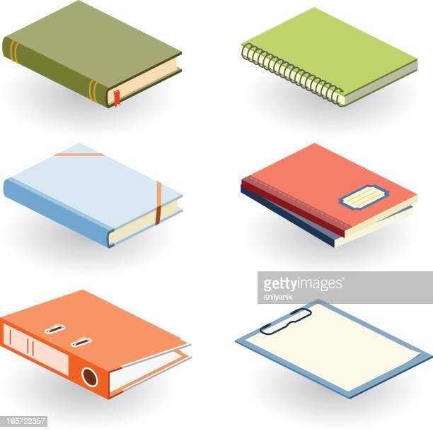 various books and other office supplies in different colors - diary stock illustrations
