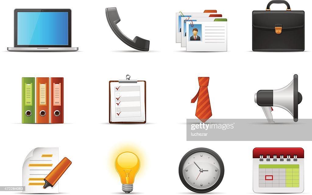 Various business and office icons on a white background
