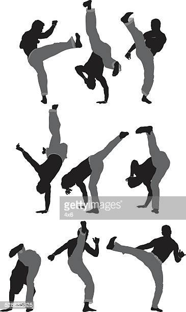 ilustrações de stock, clip art, desenhos animados e ícones de vários capoeira move - capoeira