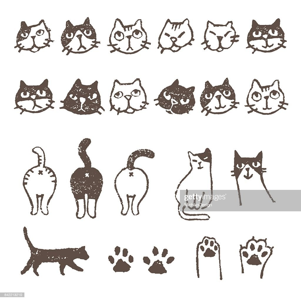 Various cat's, face, paw, and footprint