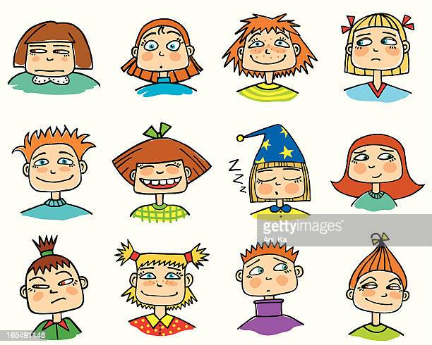 various children's faces showing different emotions - sneering stock illustrations, clip art, cartoons, & icons