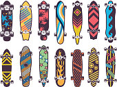 Various colored patterns on skateboards