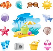 Various colorful beach icons on a white background