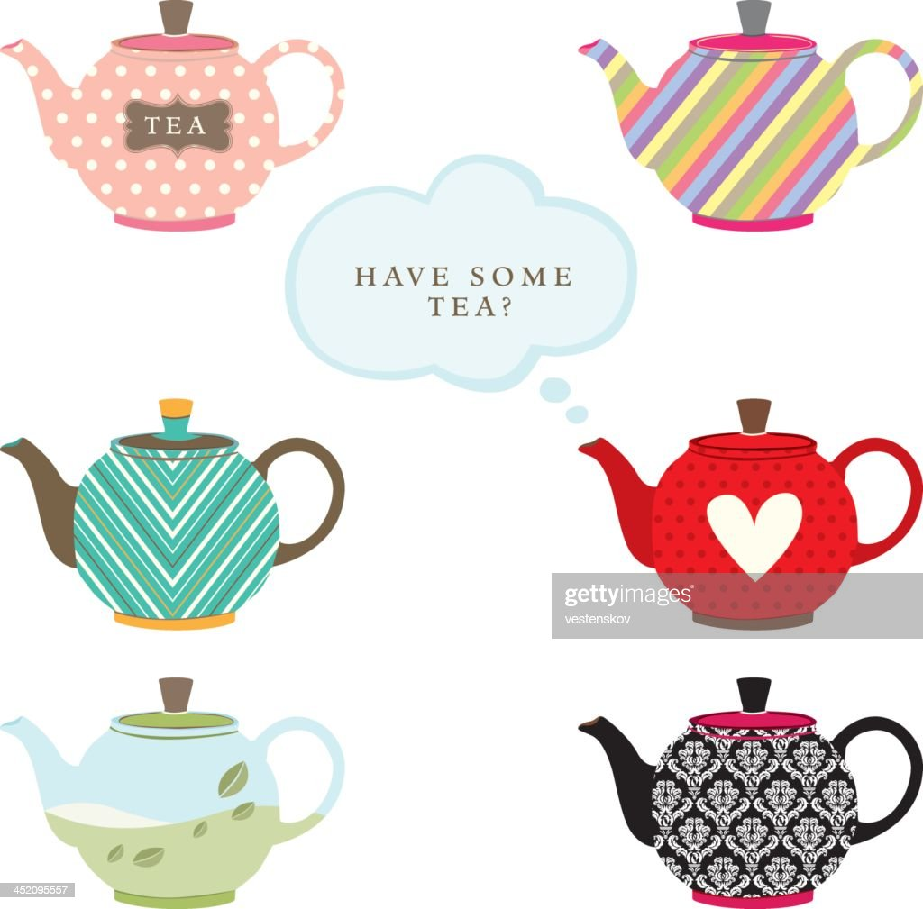 various colorful graphic teapot : stock illustration