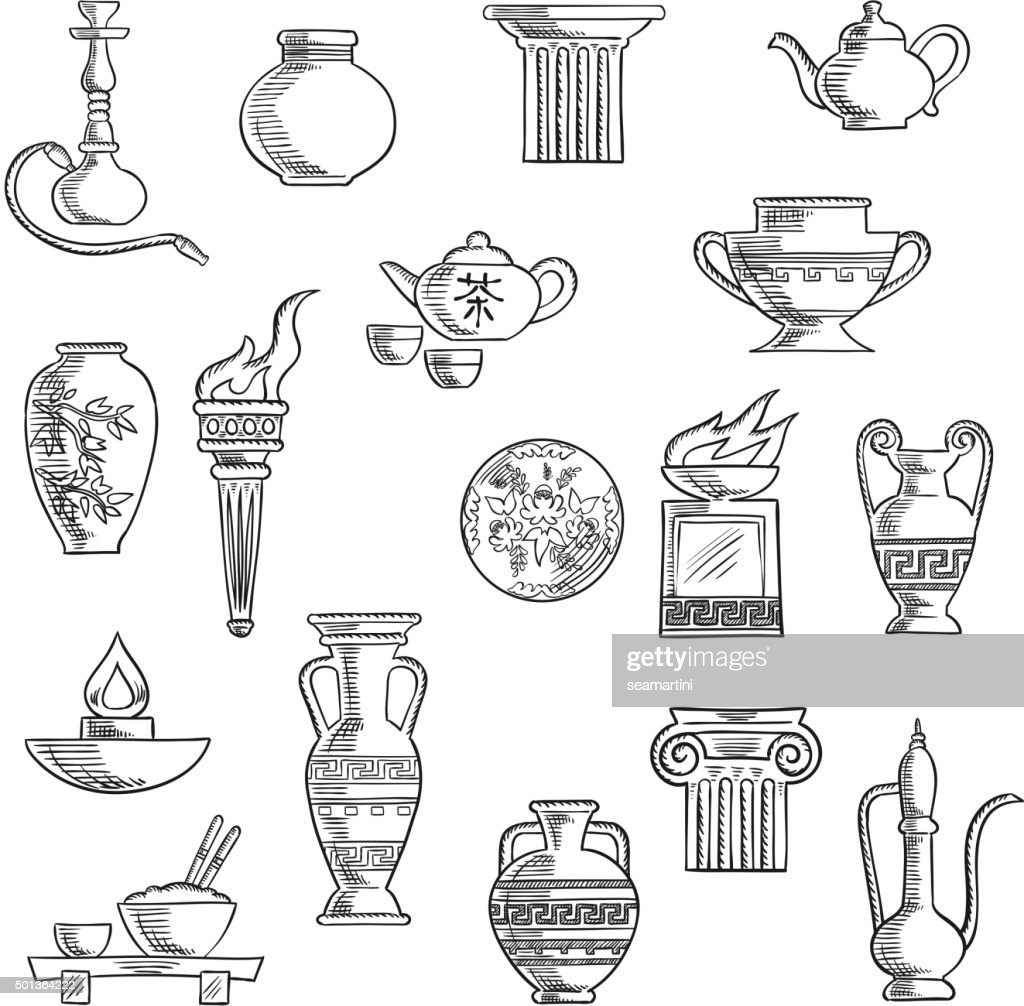 Various containers and kitchenware sketches