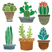 Various desert cacti in watercolor