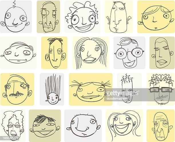 Varios Garabato dibujos de las cabezas