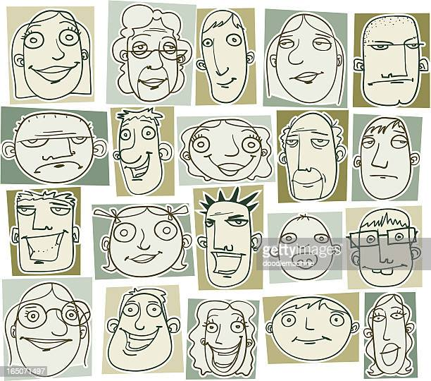 various doodle drawings of people's heads - balding stock illustrations, clip art, cartoons, & icons