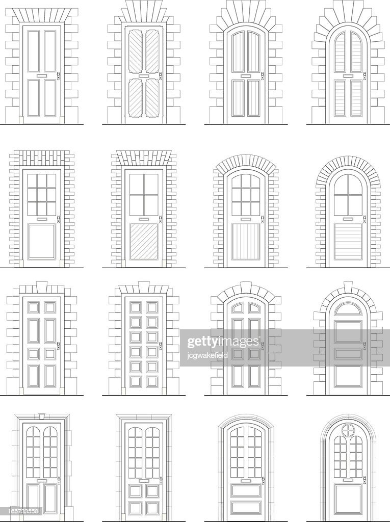 Various Doors & Surrounds : stock illustration