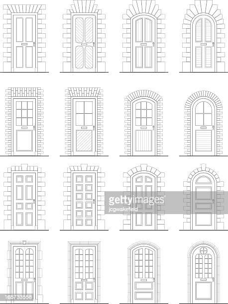 various doors & surrounds - architectural feature stock illustrations, clip art, cartoons, & icons