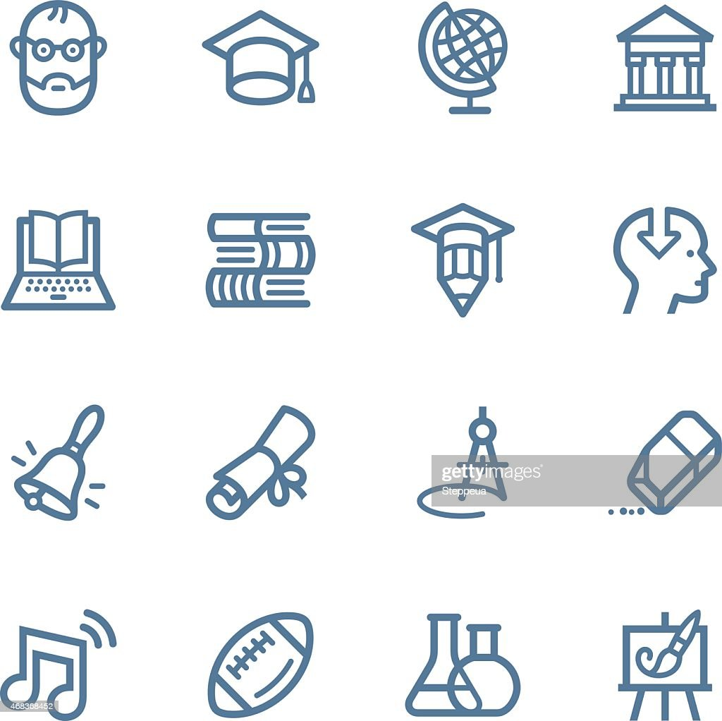 Various drawn education icons on white background