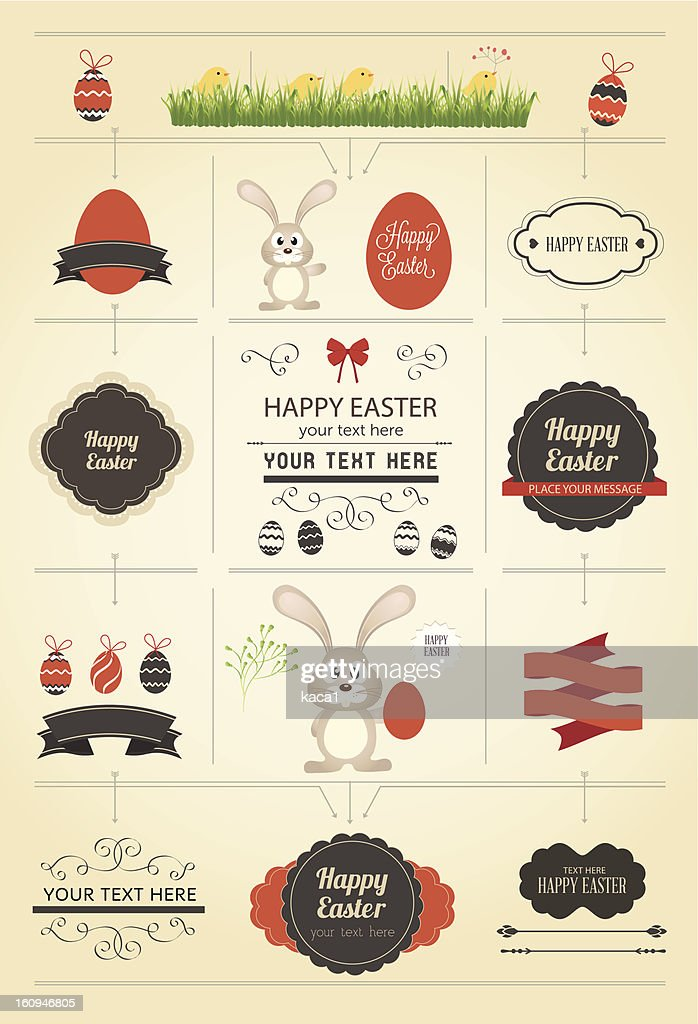Various Easter greeting and gift tags design templates