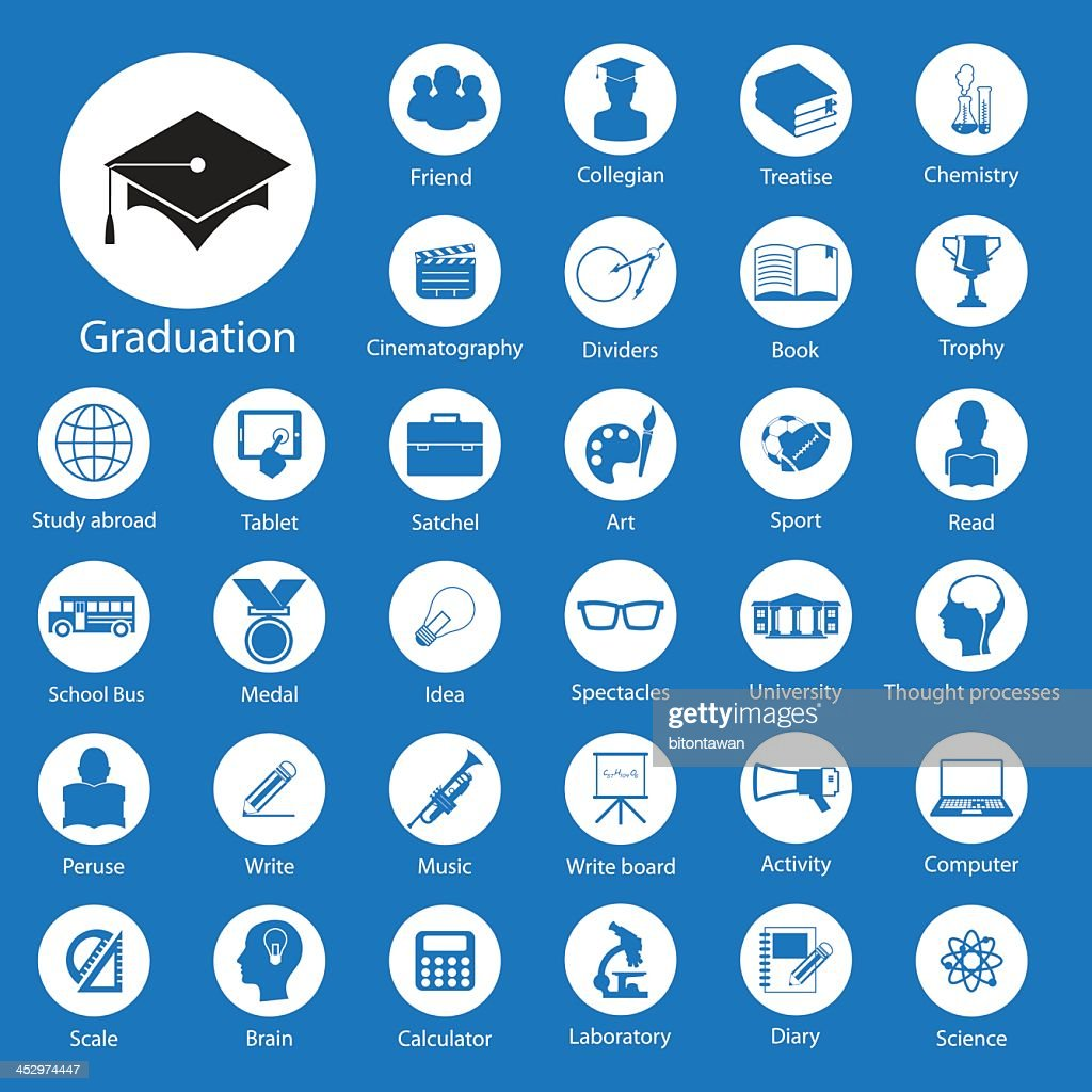 Various education round icons on a blue background