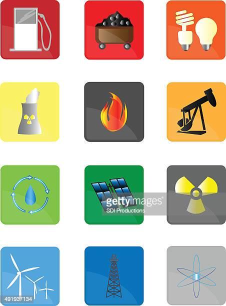 Vários ícones de alimentação de energia
